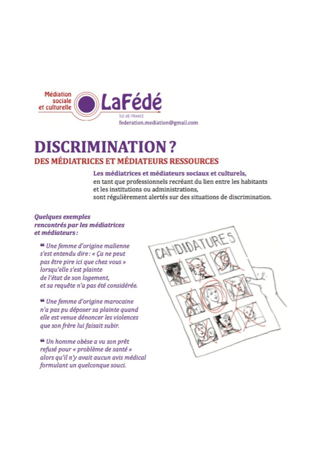 «Discrimination? Des médiateurs et médiatrices ressources»